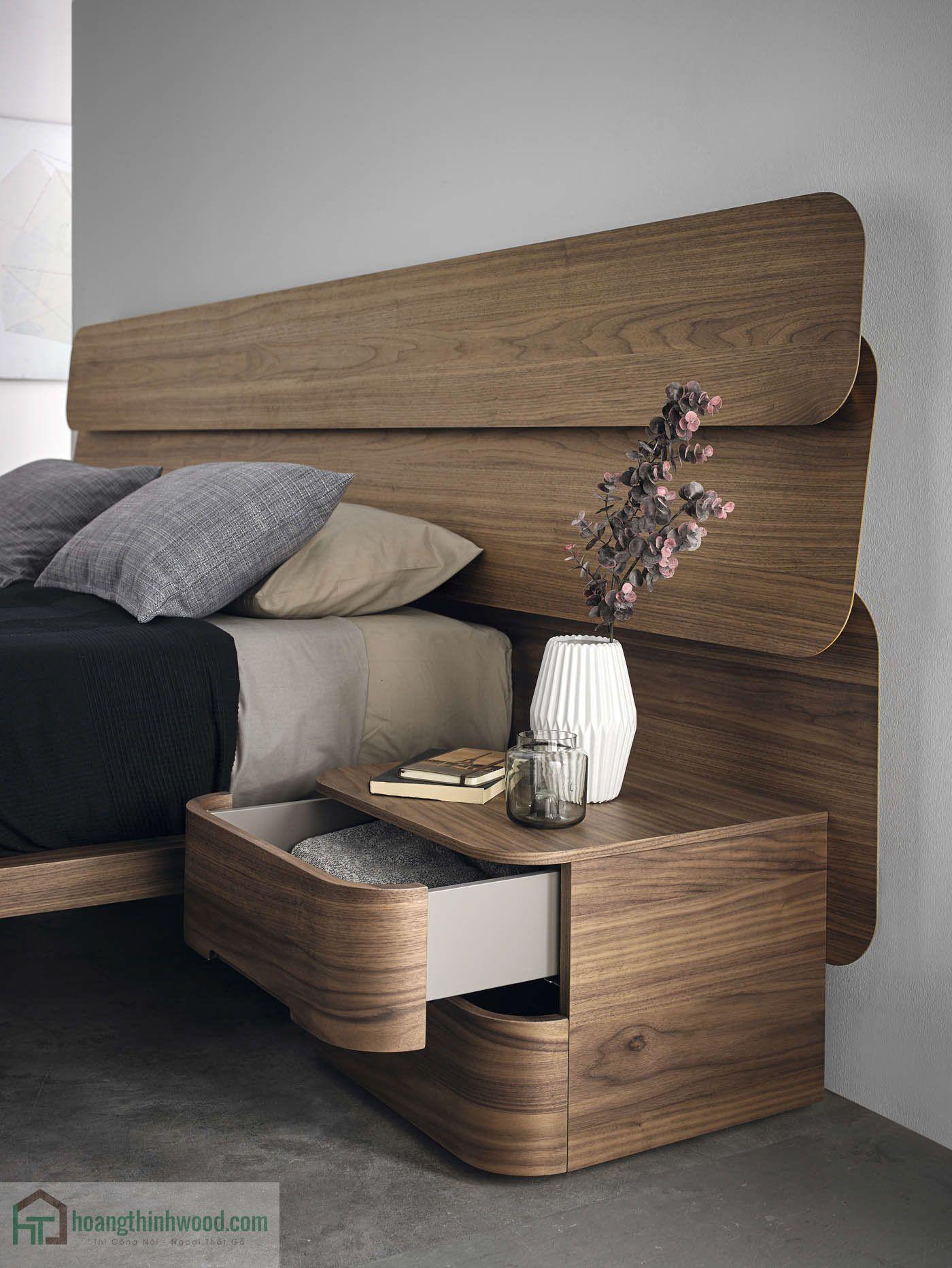 giường gỗ tự nhiên walnut