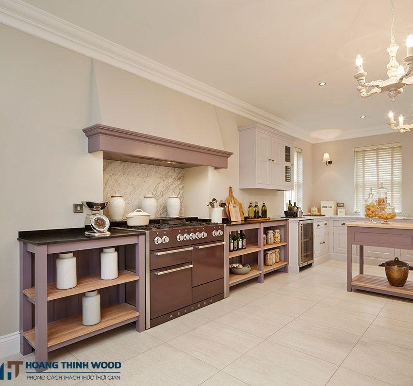 Tủ bếp màu tím đẹp